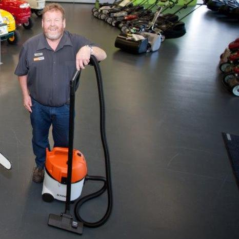 Craig with a STIHL Vacuum Cleaner
